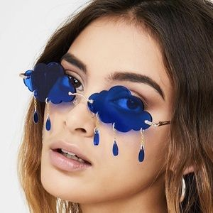 Trendy Steampunk Blue Clouds Rimless Sunglasses